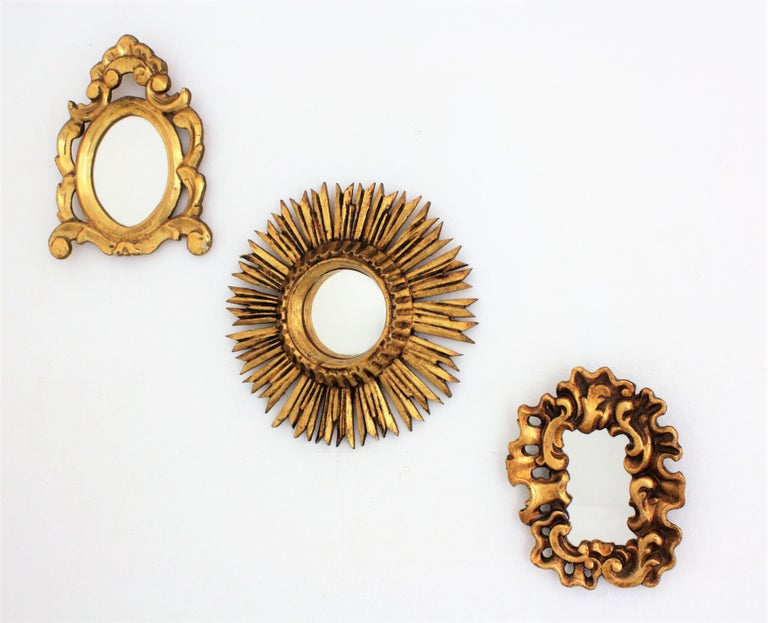 Spanish Unusual Art Nouveau Style Carved Giltwood Mini Sized Mirror, Spain, 1920s For Sale