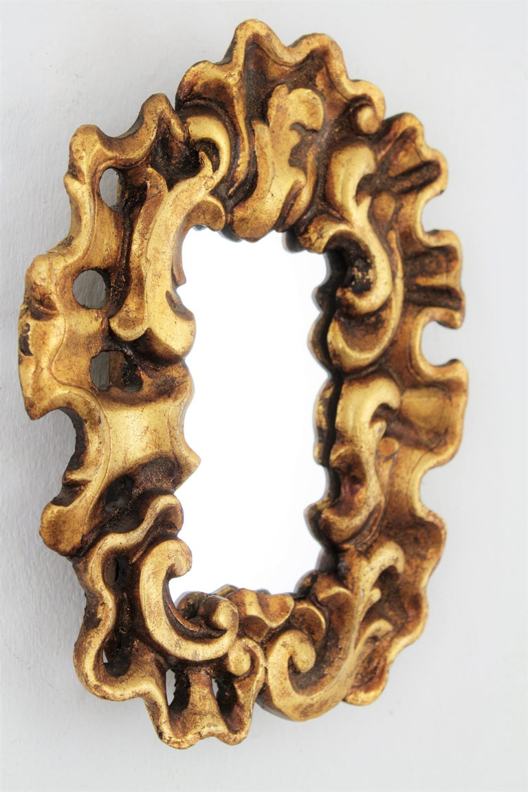 Hand-Carved Unusual Art Nouveau Style Carved Giltwood Mini Sized Mirror, Spain, 1920s For Sale