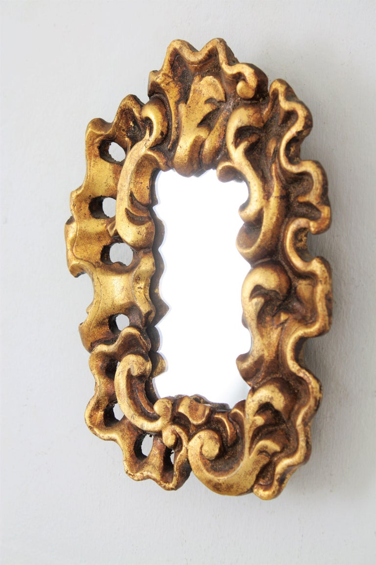 Gesso Unusual Art Nouveau Style Carved Giltwood Mini Sized Mirror, Spain, 1920s For Sale