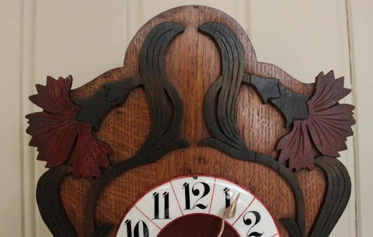 German Unusual Art Nouveau Wall Clock For Sale