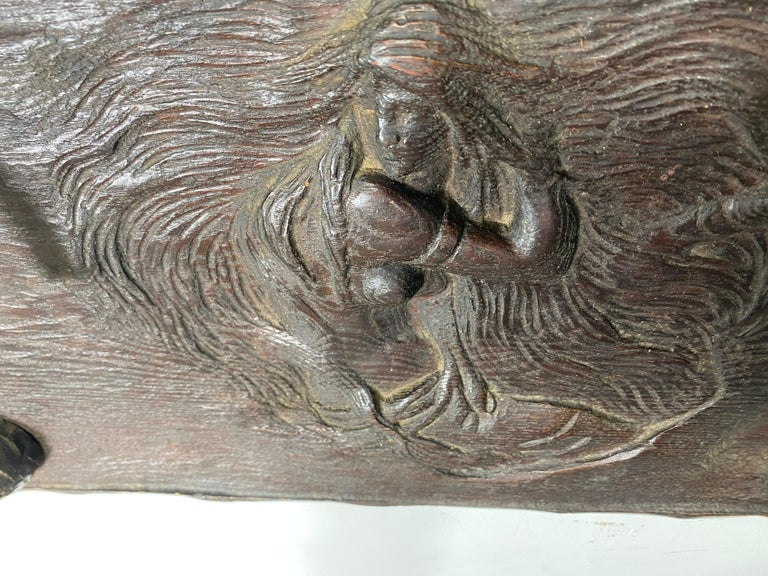 Early 20th Century Unusual Art Nouveau Woman, Carved Wood and Metal Pipe Holder Wall Plaque For Sale