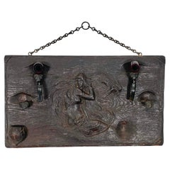 Unusual Art Nouveau Woman, Carved Wood and Metal Pipe Holder Wall Plaque