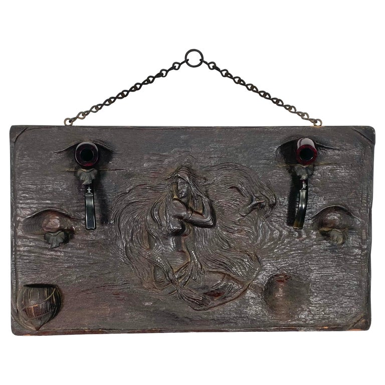 Unusual Art Nouveau Woman, Carved Wood and Metal Pipe Holder Wall Plaque For Sale