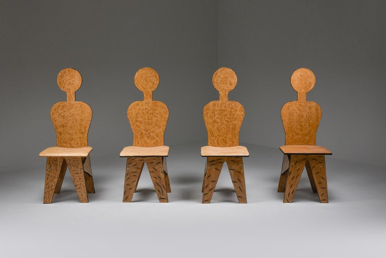 Post-Modern Unusual Artist Chairs, Italy, 1980s For Sale