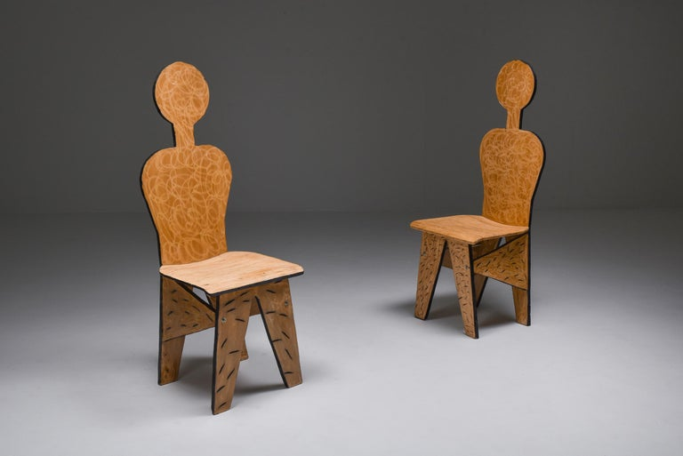 Italian Unusual Artist Chairs, Italy, 1980s For Sale