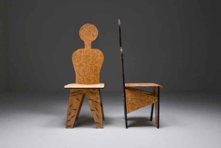 Unusual Artist Chairs, Italy, 1980s In Good Condition For Sale In Antwerp, BE