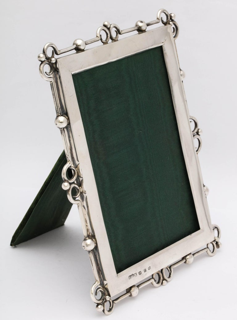 Late 19th Century Unusual Arts & Crafts Sterling Silver Picture Frame, by E. Mander and Sons For Sale