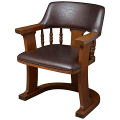 Unusual Arts & Crafts Oak Desk Chair