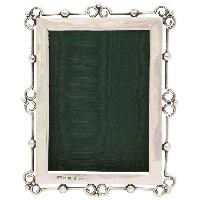 Unusual Arts & Crafts Sterling Silver Picture Frame, by E. Mander and Sons For Sale