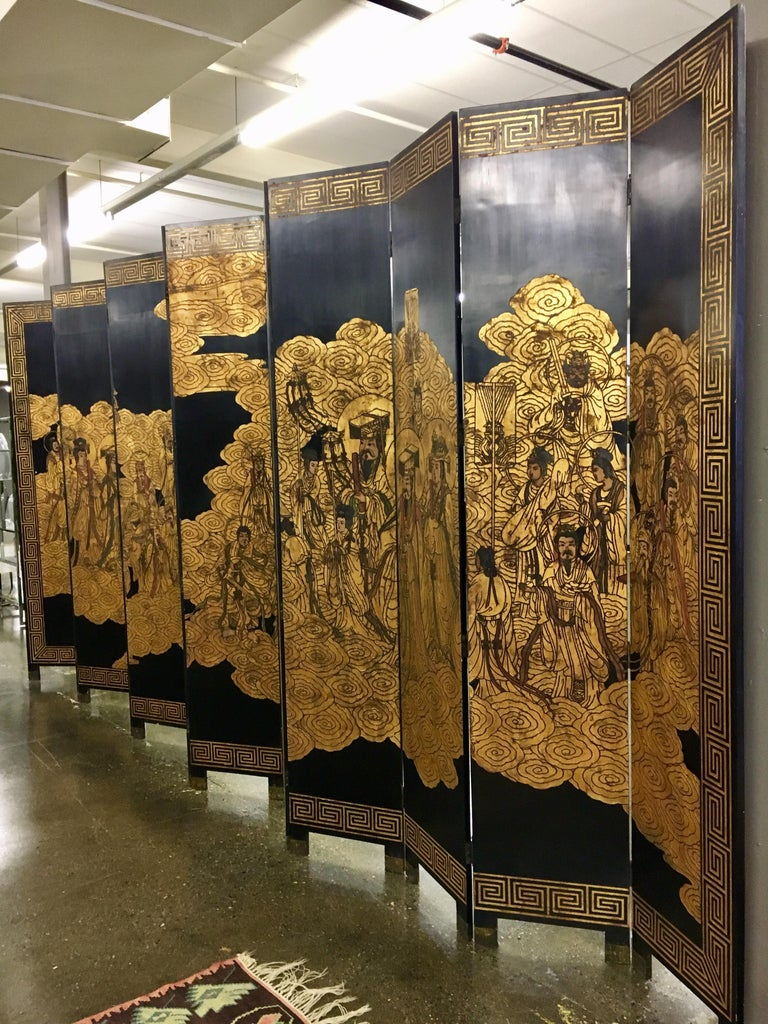 Magnificent late 20th century Chinese extra large room divider that features twelve-panels that can extend to 20 ft. by 9 ft. tall when fully extended! It also features a gilt Greek key design on one side - see pics. This is the biggest Coromandel