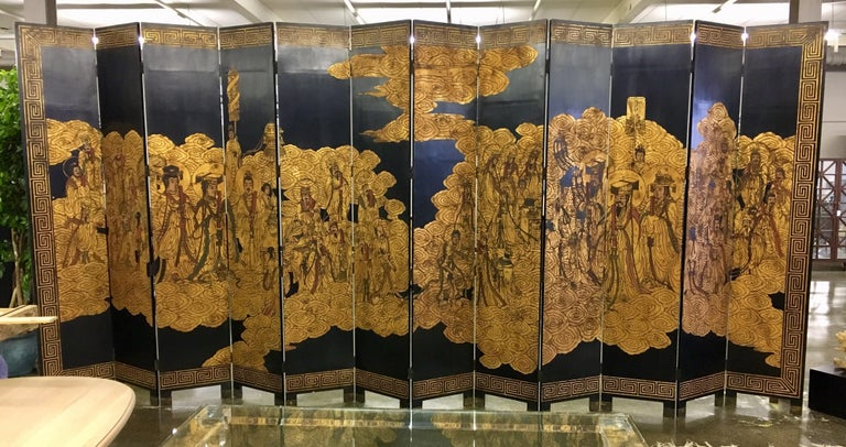 Chinese Export Asian Coromandel Twelve-Panel 9 Ft. Carved Screen Room Divider Extra Large For Sale