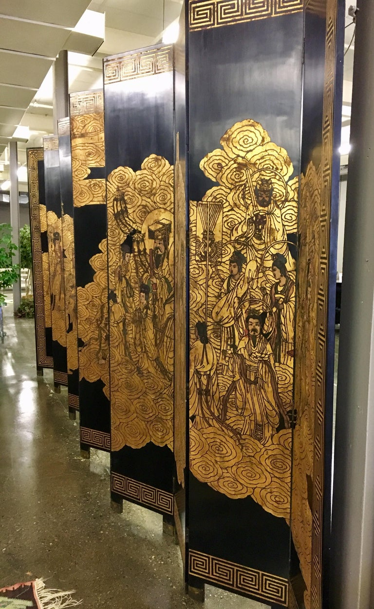 Asian Coromandel Twelve-Panel 9 Ft. Carved Screen Room Divider Extra Large In Good Condition For Sale In West Hartford, CT