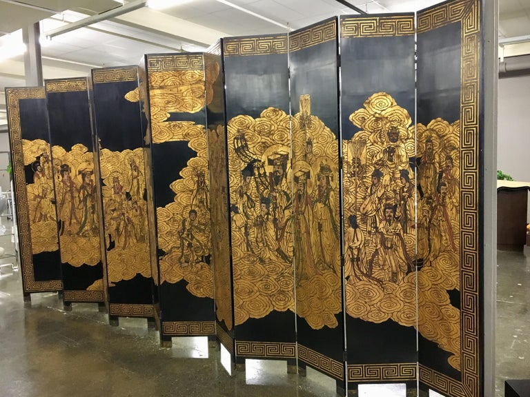 20th Century Asian Coromandel Twelve-Panel 9 Ft. Carved Screen Room Divider Extra Large For Sale