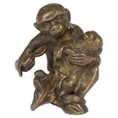 Unusual Austrian Novelty Bronze Monkey Feeding Baby Bronze Sculpture