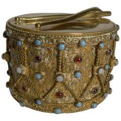 Unusual Austro Hungarian Jeweled Box, Drum