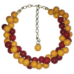 Unusual Bakelite bead necklace in red and corn yellow