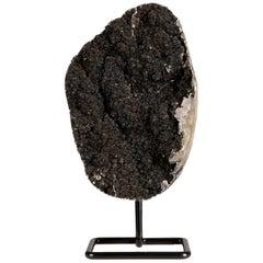 Unusual Black Amethyst Druze Formation on Metal Stand
