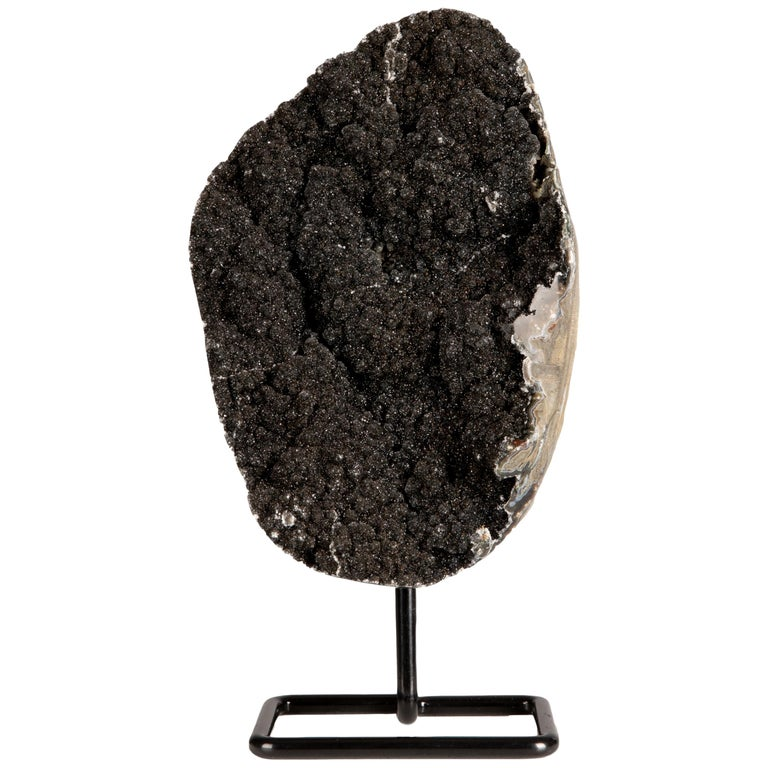 Unusual Black Amethyst Druze Formation on Metal Stand For Sale