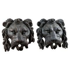 Unusual Black Lion Masks in Resin, 20th Century