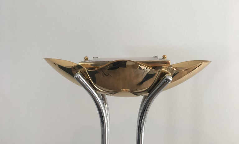 Gilt Unusual Brass, Chrome and Marble Floor Lamp, French, circa 1970 For Sale