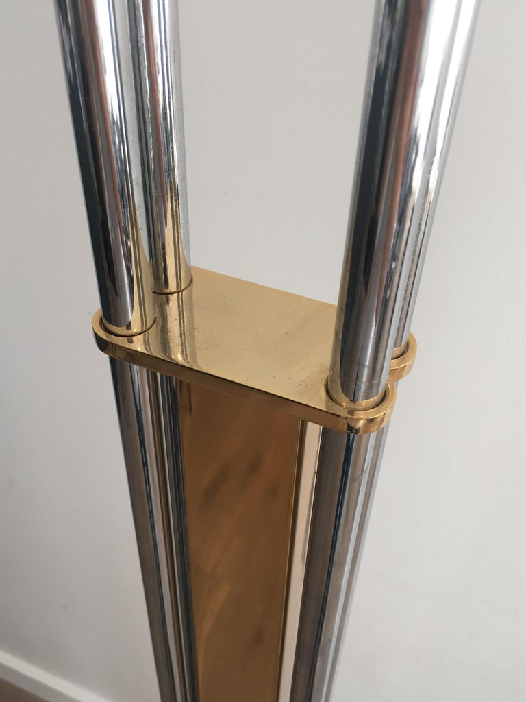 Late 20th Century Unusual Brass, Chrome and Marble Floor Lamp, French, circa 1970 For Sale