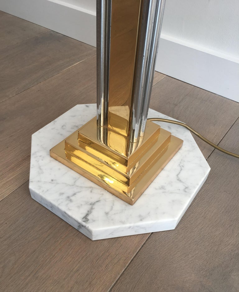 Unusual Brass, Chrome and Marble Floor Lamp, French, circa 1970 For Sale 1