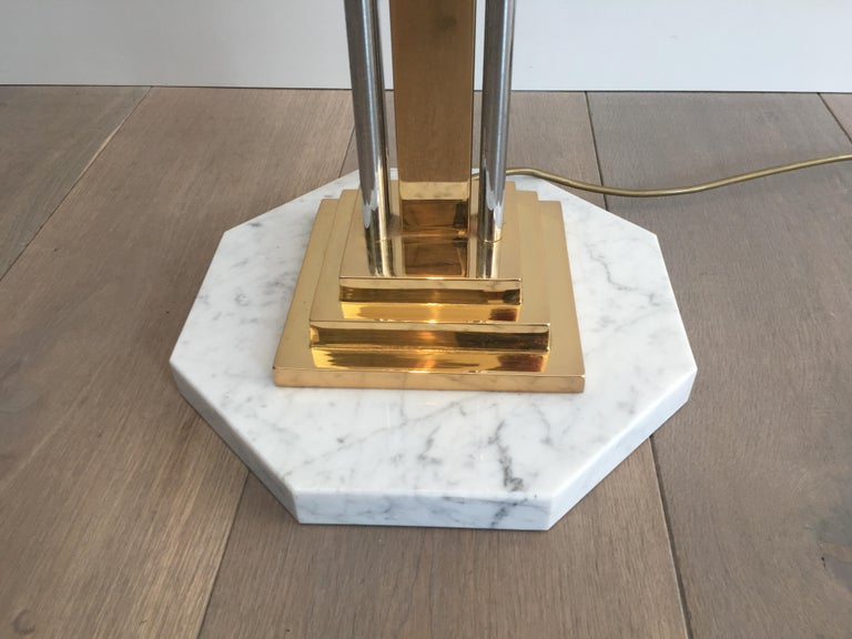 Unusual Brass, Chrome and Marble Floor Lamp, French, circa 1970 For Sale 2