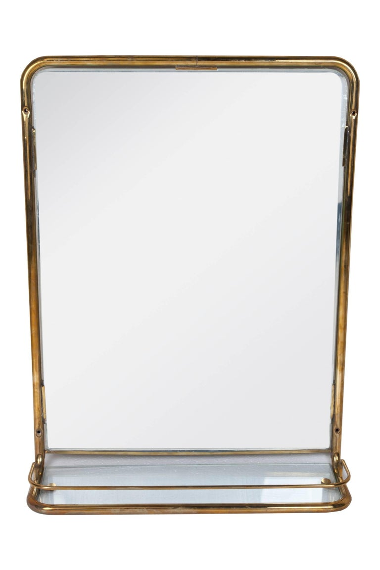 Industrial Unusual Brass Mirror from a Ship's Stateroom, circa 1960s