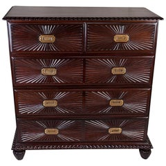 Unusual Campaign Rosewood Chest of Drawers with Sunburst Carved Drawer Fronts