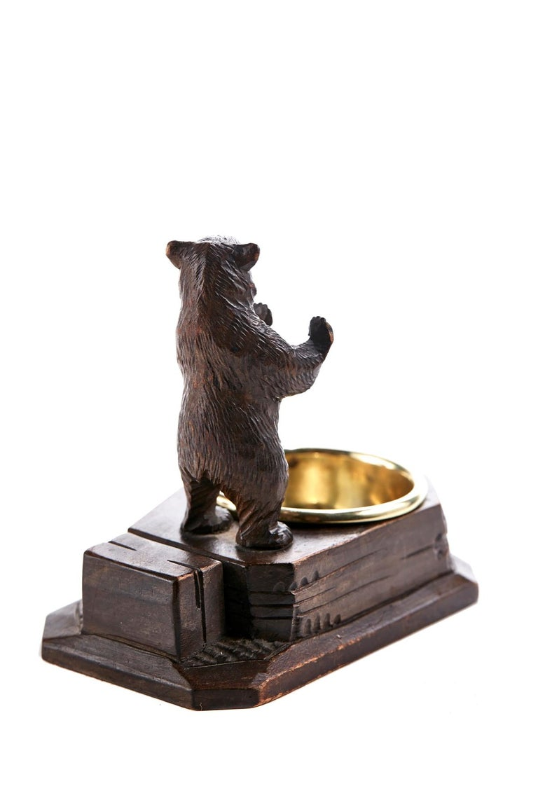 Victorian Unusual Carved Black Forest Bear Match Box Striker For Sale