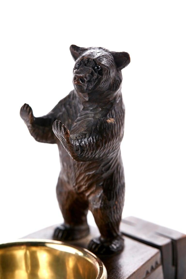 Wood Unusual Carved Black Forest Bear Match Box Striker For Sale