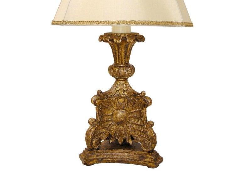 Unusual carved Italian giltwood table lamp by Randy Esada.