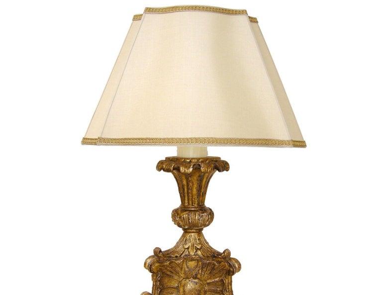 Louis XVI Unusual Carved Italian Giltwood Table Lamp by Randy Esada For Sale