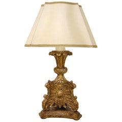 Unusual Carved Italian Giltwood Table Lamp by Randy Esada