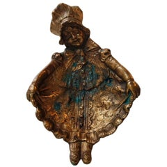 Unusual Cast Bronze Dish or Wall Plaque of Little Girl in Dress, 1920s