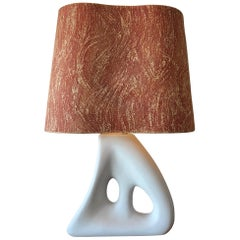 Unusual Ceramic Biomorphic Lamp With Original Shade