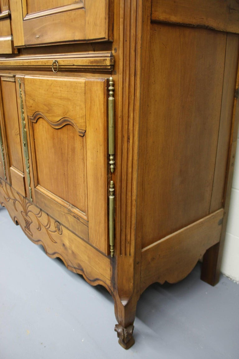 French Country Cherry Cupboard or Armoire with Four Doors and Shelf For Sale 5
