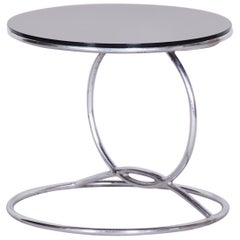 Unusual Chrome Bauhaus Round Small Table, 1950s, Perfect Condition, Black glass