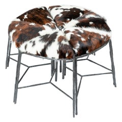 Unusual Cluster of Six Pie Shaped Hide Upholstered Seat & Blackened Iron Benches