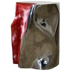 Unusual convoluted chrome and enamel table Silas Seandel