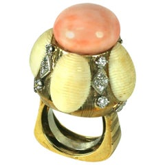 Unusual Coral and Diamond Domed Cocktail Ring