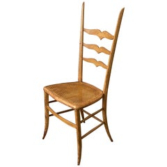 Unusual Country Ladder Back Side Chair with Caned Seat