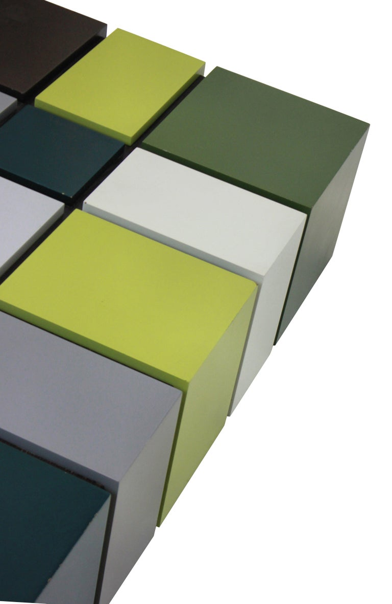 Mid-Century Modern Unusual Cubist Occasional Table in Great Colors For Sale