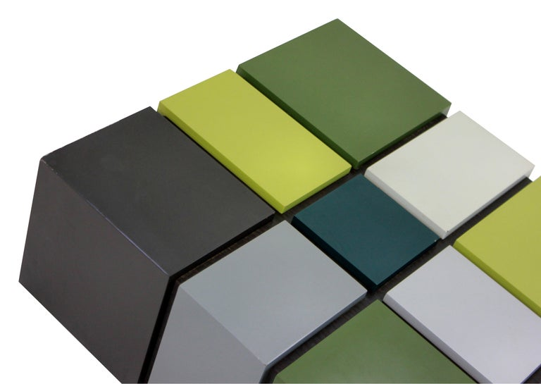 English Unusual Cubist Occasional Table in Great Colors For Sale