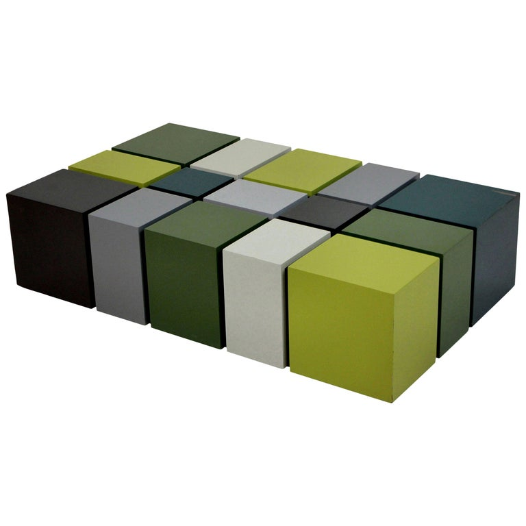 Unusual Cubist Occasional Table in Great Colors For Sale