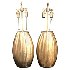 Unusual Custom Pair of Textured Brass Vessels with Lamp Application