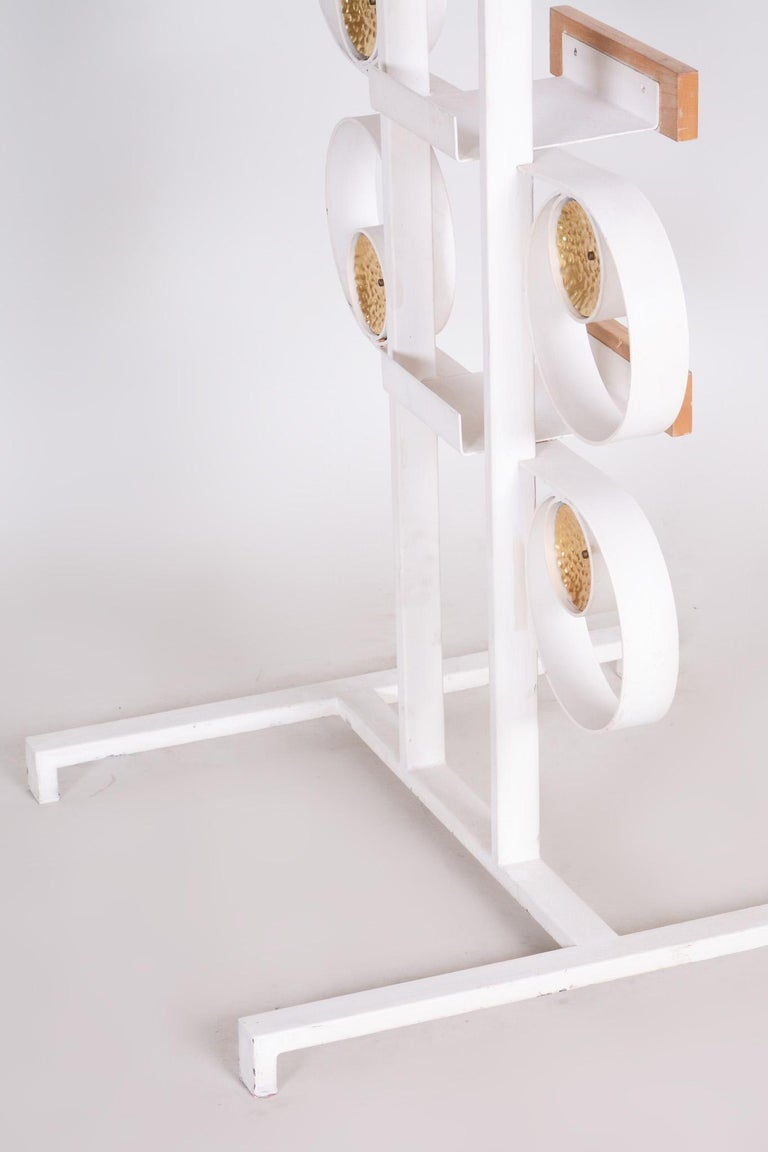 Unusual Czech Metal White Room Divider Wall Unit, Brass Details, 1950s For Sale 5