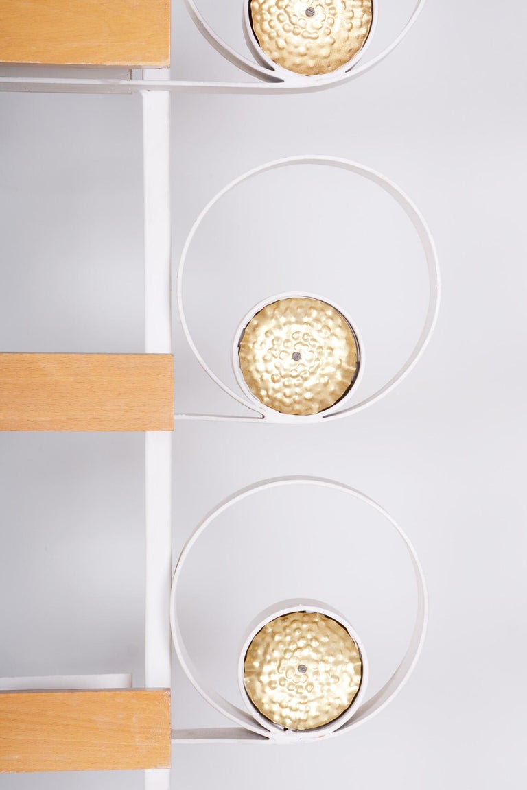 Mid-Century Modern Unusual Czech Metal White Room Divider Wall Unit, Brass Details, 1950s For Sale