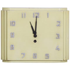 Unusual Czech Midcentury Bauhaus Wall Clock, Lacquered Wood, 1930s