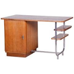 Unusual Czech Oak Bauhaus Chrome Writing Desk by Hynek Gottwald, 1930s